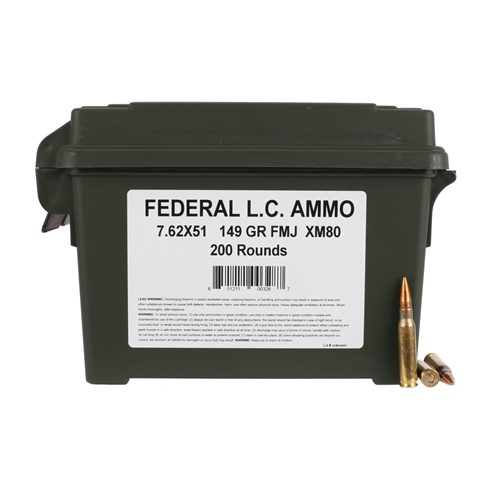 Federal Lake City 7.62x51mm XM80 Ammo 149 Grain FMJ 200 Rounds Bulk Ammo Can