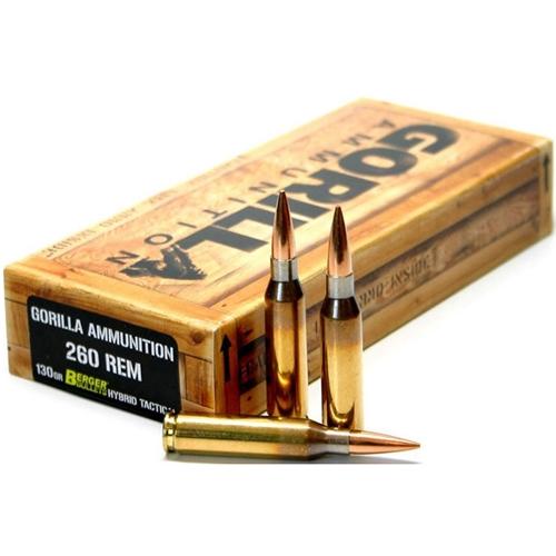 Gorilla Ammunition 260 Remington 130 Grain Berger Hybrid Tactical Open Tip Match