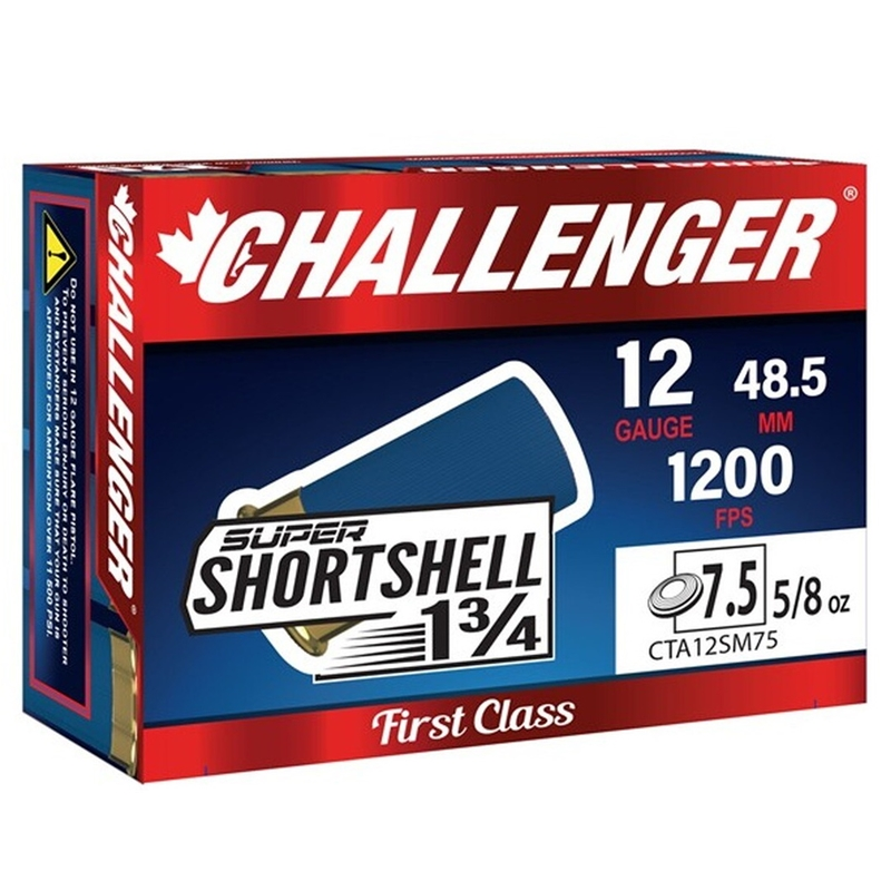 "Challenger SUPER SHORTSHELL 12 Gauge Ammo 1-3/4"" 5/8oz. #7 1/2 Shot"