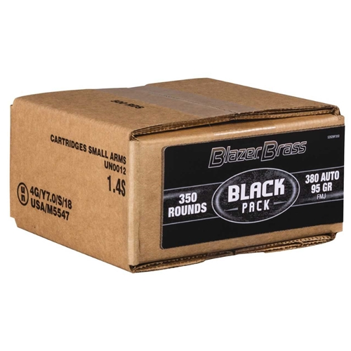 CCI Blazer Brass Black Pack 380 Auto Ammo 95 Grain FMJ 350 Rounds