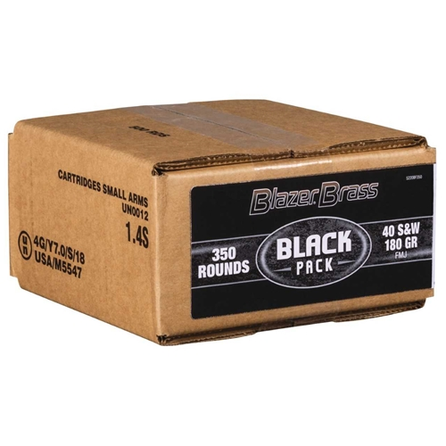 CCI Blazer Brass Black Pack 40 S&W Ammo 180 Grain FMJ 350 Rounds