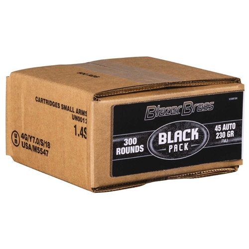 CCI Blazer Brass Black Pack 45 ACP Ammo 230 Grain FMJ 300 Rounds