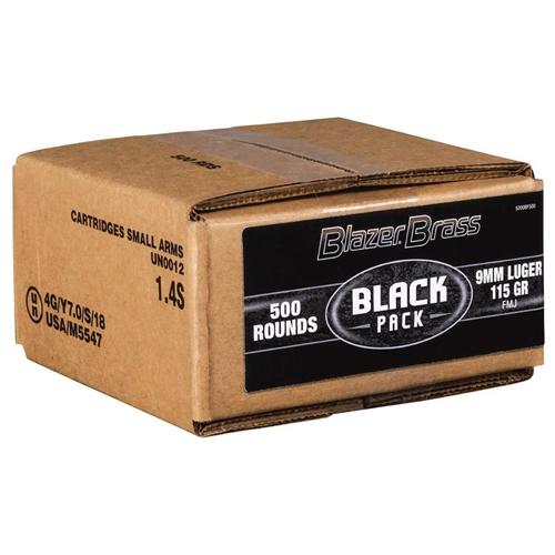 CCI Blazer Brass Black Pack 9mm Luger Ammo 115 Grain FMJ 500 Rounds