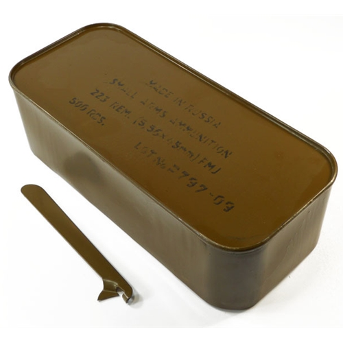 Wolf Military Classic 223 Ammo 55 Gr FMJ Steel Case 500 Rds in Tin