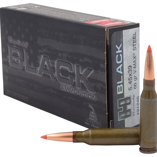 Hornady Black 5.45x39mm Ammo 60 Grain V-Max Steel Case