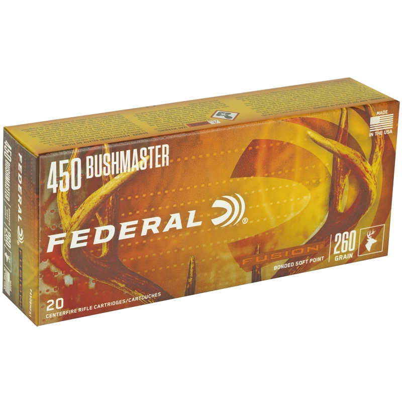 Federal Fusion 450 Bushmaster Ammo 260 Grain Soft Point