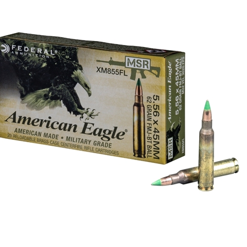 Federal American Eagle 5.56x45mm M855 NATO Ammo 62 Grain Green Tip FMJBT