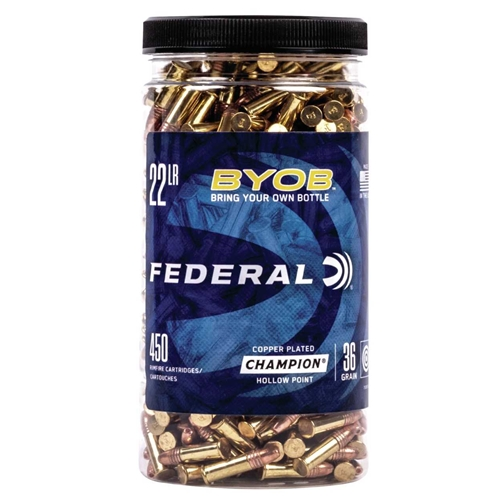 Federal Champion 22 Long Rifle Ammo 36 Grain BYOB Copper Plated Hollow Point