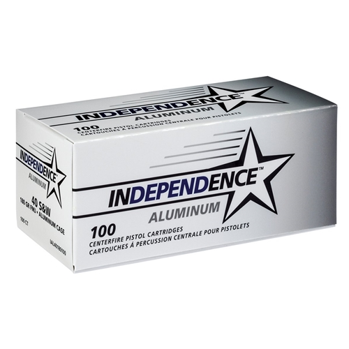 Independence Aluminum 40 S&W Ammo 180 Grain Full Metal Jacket