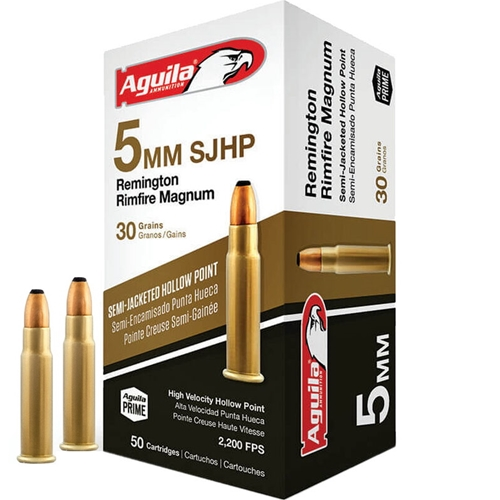 Aguila 5mm Remington Magnum Ammo 30 Grain Semi-Jacketed Hollow Point