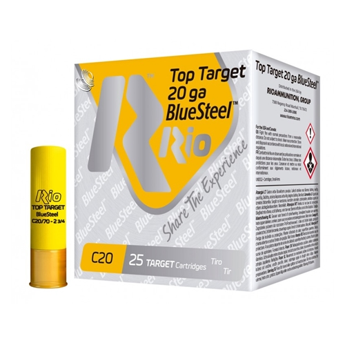"Rio 20 Gauge Target Blue Steel Ammo 2-3/4"" 7/8 oz #7 Shot 250 Rounds"