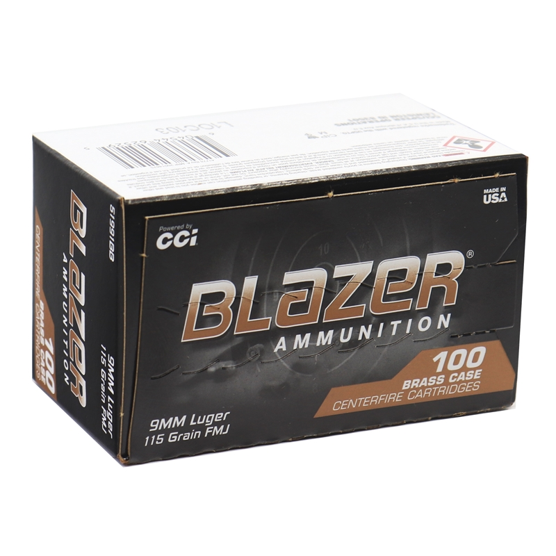 CCI Blazer Brass 9mm Luger Ammo 115 Grain Full Metal Jacket 100 Pack