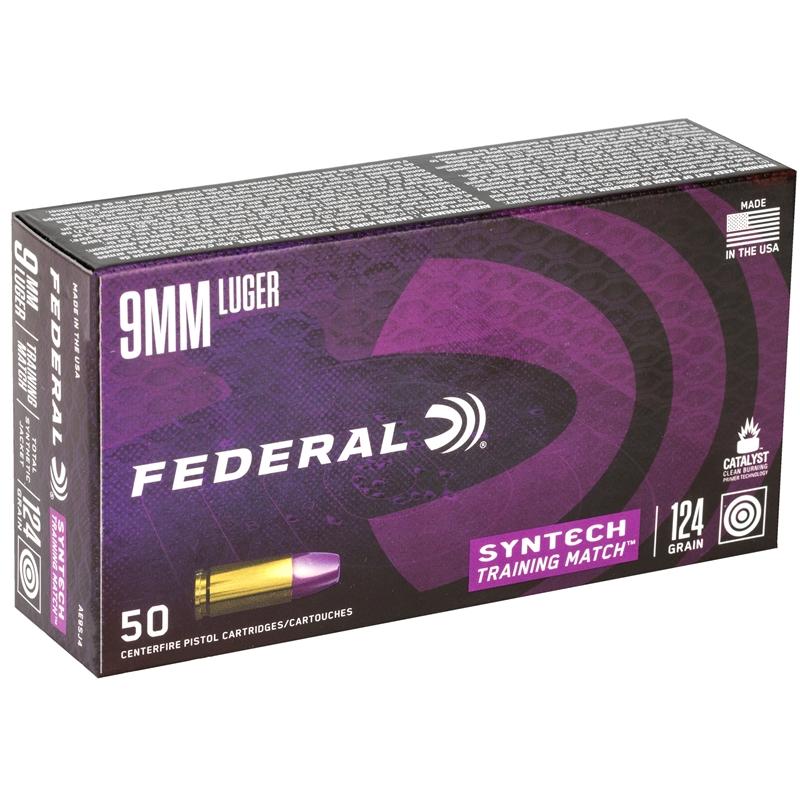 Federal Syntech 9mm Luger Ammo 124 Grain Syntech Training Match TSJ