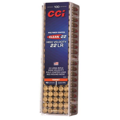 CCI Clean 22 Long Rifle High Velocity Ammo 40 Grain Red Polymer Coated