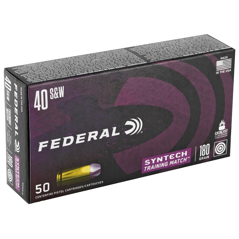 Federal Syntech 40 S&W Ammo 180 Grain Training Match TSJ