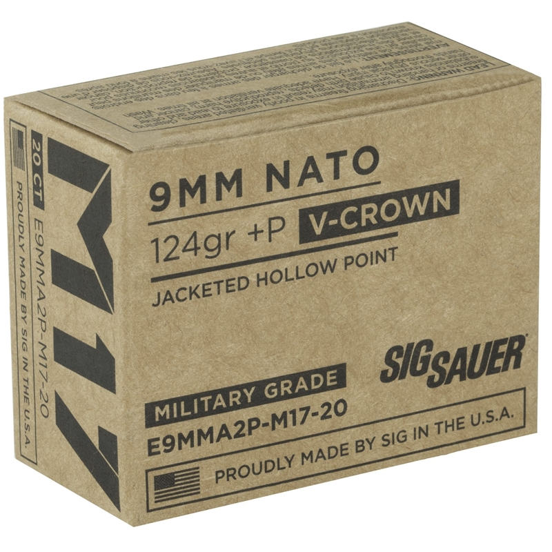 Sig Sauer Elite M17 Military Grade 9mm Luger Ammo 124 Grain +P V-Crown Jacketed Hollow Point
