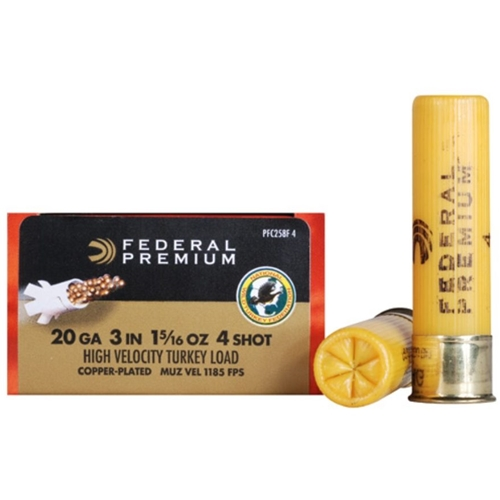 "Federal Premium Mag-Shok 20 Gauge Ammo  3"" 1-5/16 oz #4 Copper Plated Shot"