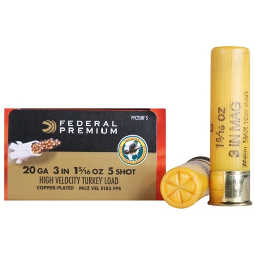 "Federal Premium Mag-Shok 20 Gauge Ammo  3"" 1-5/16 oz #5 Copper Plated Shot"