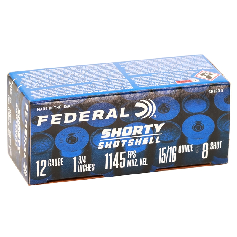 "Federal Shorty Shotshell 12 Gauge Ammo 1 3/4"" 8 Shot"