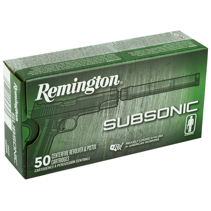 Remington Subsonic 9mm Luger Ammo 147 Grain Flat Nose Enclosed Bullet