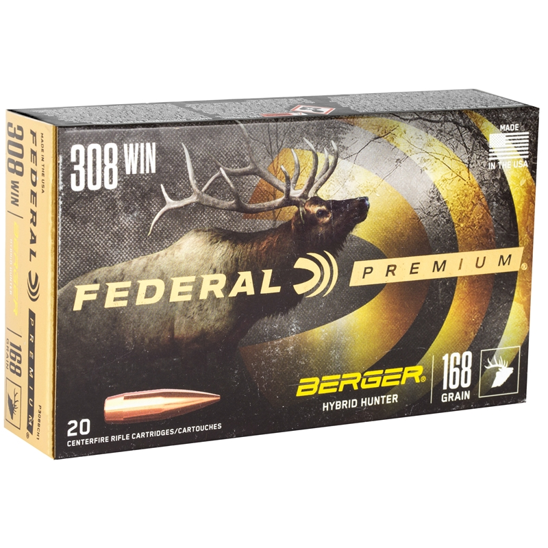 Federal Premium 308 Winchester Ammo 168 GrainBerger Hybrid Hunter