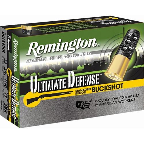 "Remington Ultimate Defense 20 Gauge Ammo 2-3/4"" #3 Buck 17 Pellets"