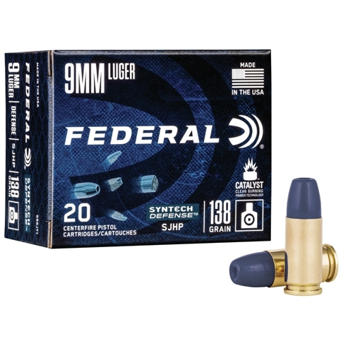 Federal Syntech 9mm Luger Ammo 138 Grain Defense SJHP