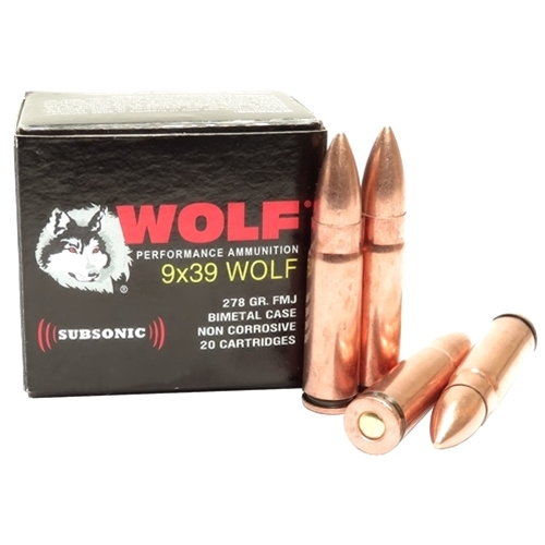 Wolf Performance 9x39 Ammo 278 Grain Subsonic Full Metal Jacket