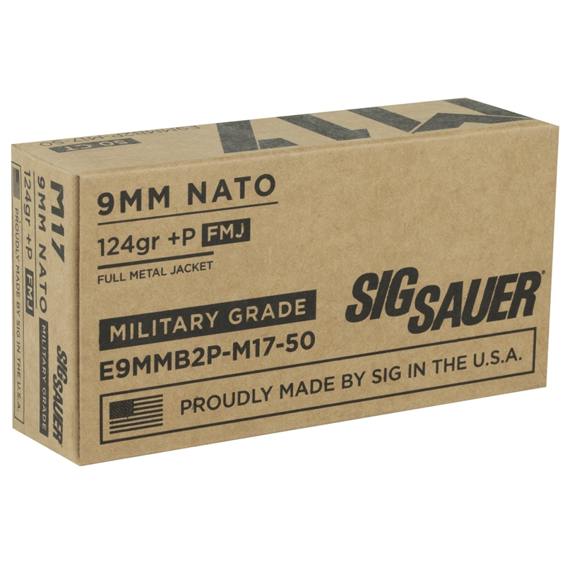Sig Sauer Elite M17 Military Grade 9mm Luger Ammo 124 Grain +P Elite Ball Full Metal Jacket