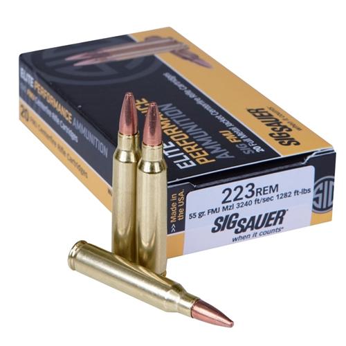Sig Sauer Elite Performance 223 Remington Ammo 55 Grain Elite Ball Full Metal Jacket
