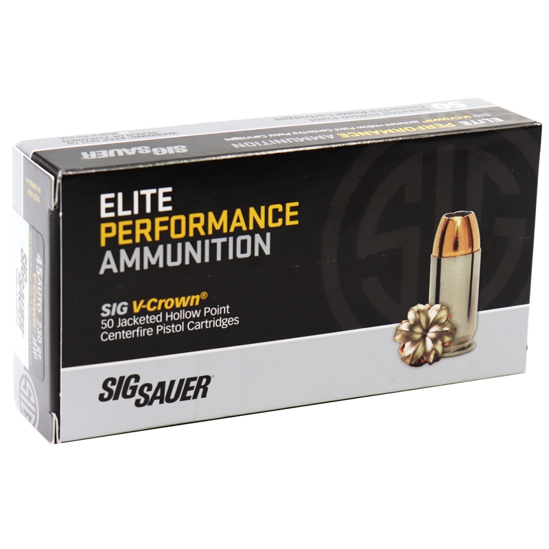 Sig Sauer Elite Performance 45 ACP Auto Ammo 230 Grain V-Crown Jacketed Hollow Point Projectile