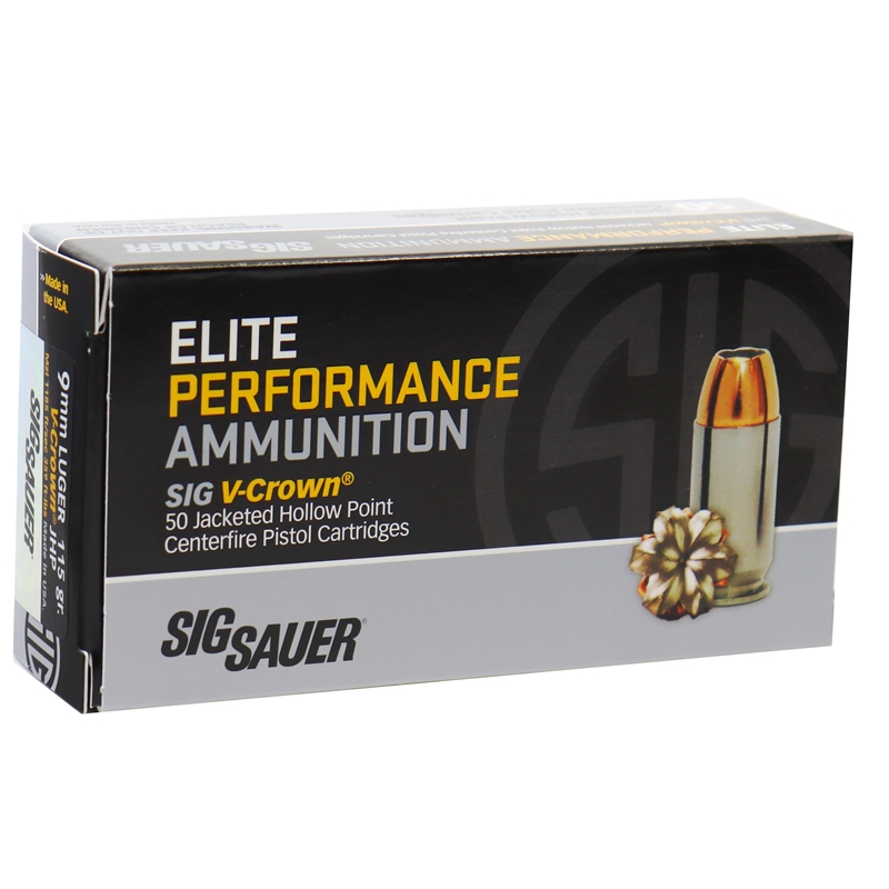 Sig Sauer Elite Performance 9mm Luger Ammo 115 Grain V-Crown Jacketed Hollow Point