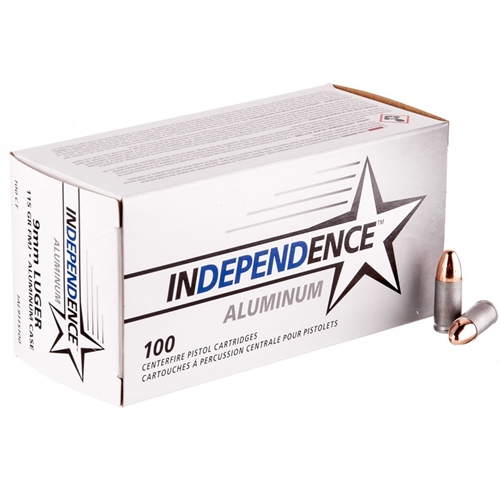 Independence Aluminum 9mm Luger Ammo 115 Grain FMJ 100 Rounds Value Pack