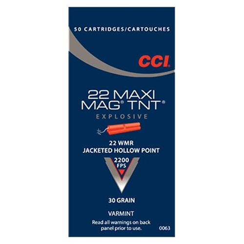 CCI Maxi-Mag 22 WMR Ammo 30 Grain Speer TNT Jacketed Hollow Point