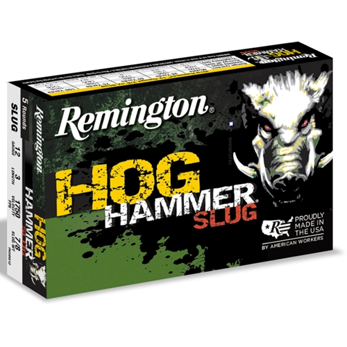 "Remington Hog Hammer 12 Gauge Ammo 3"" 7/8oz Rifled Lead Slugs"