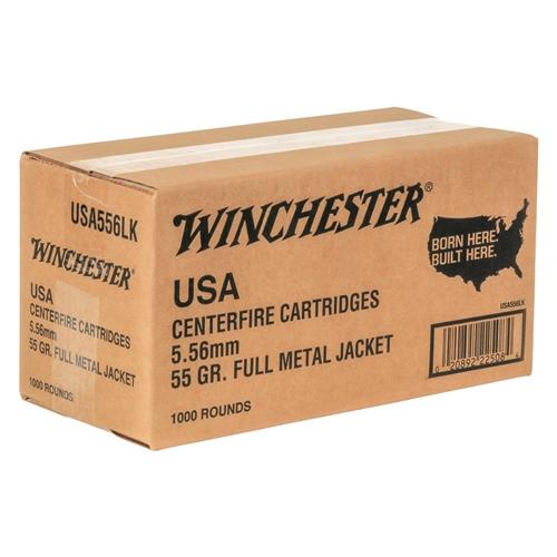 Winchester USA 5.56mm NATO 55 Grain FMJ Bulk 1000 Rounds