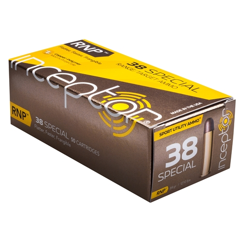 Inceptor Sport Utility 38 Special 84 Grain Ammo RNP Projectile