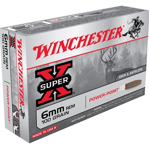 Winchester Super-X 6mm Remington Ammo 100 Grain Power Point