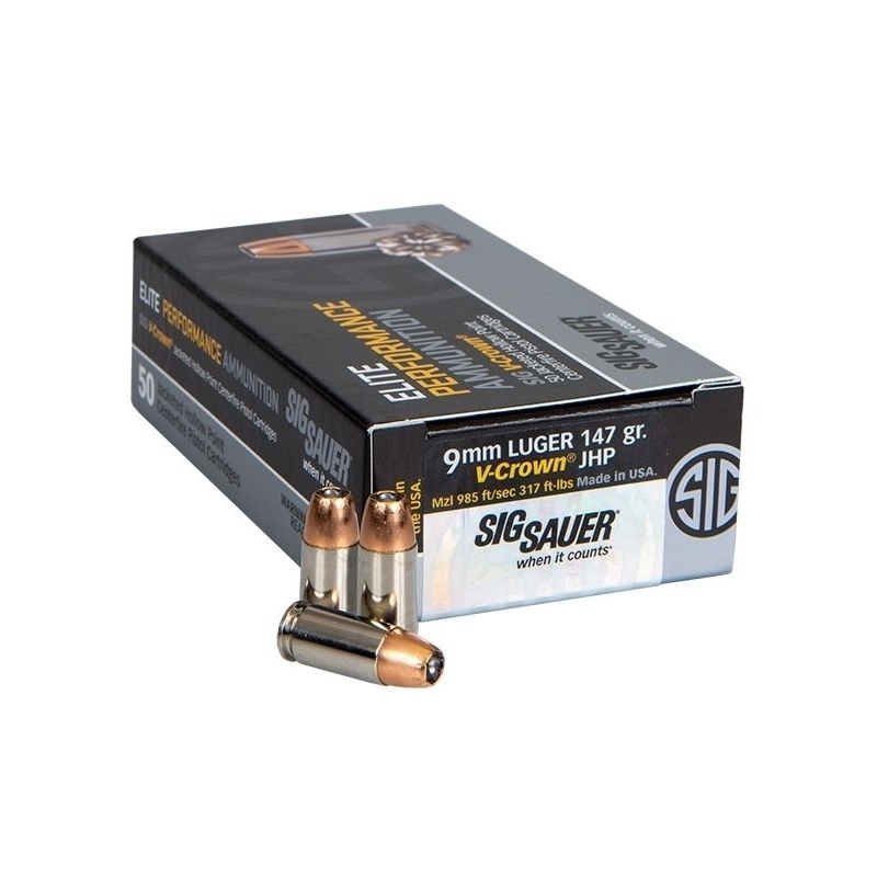 Sig Sauer Elite Performance 9mm Luger Ammo 147 Gr V-Crown JHP 50 Rounds