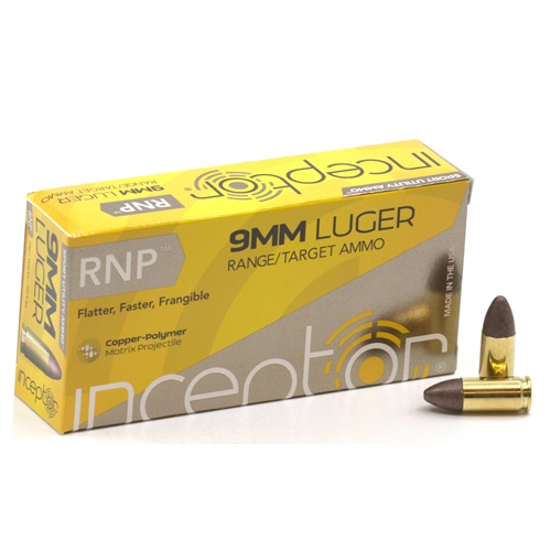Polycase Inceptor Sport Utility 9mm Luger Ammo 65 Grain RNP Frangible Lead-Free