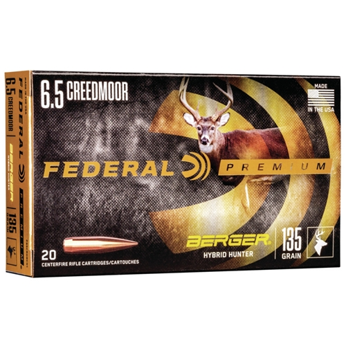 Federal Premium 6.5 Creedmoor Ammo 135 Grain Berger Hybrid Hunter