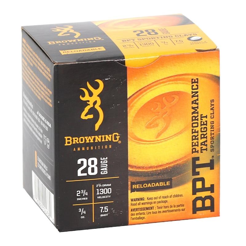 """Browning BPT Target Ammo 28 Gauge 2-3/4"""" 3/4oz. #7.5 Shot"""
