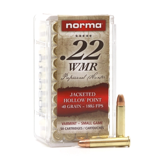 Norma 22 WMR Ammo 40 Grain Jacketed Hollow Point
