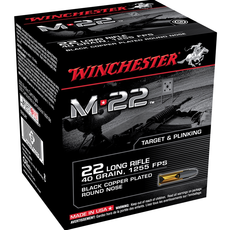 Winchester M-22 22 Long Rifle Ammo 40 Grain Black Plated Lead Round Nose