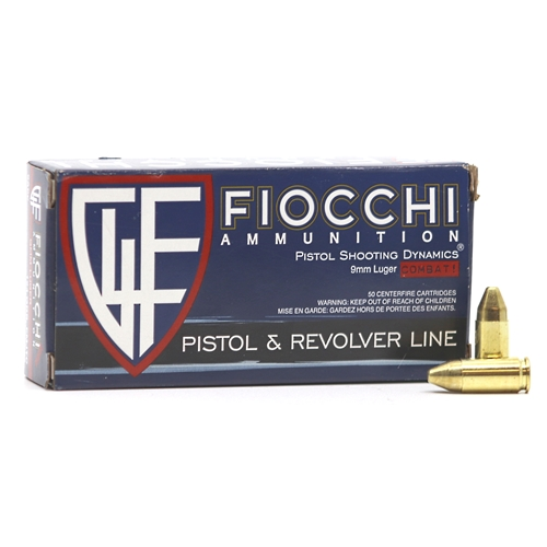 Fiocchi Shooting Dynamics 9mm Luger Ammo 124 Grain Full Metal Jacket Truncated-Cone