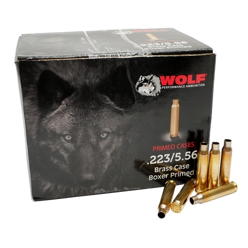 Wolf 223/5.56 Primed Reloading Brass Casing 250 Primed Cases