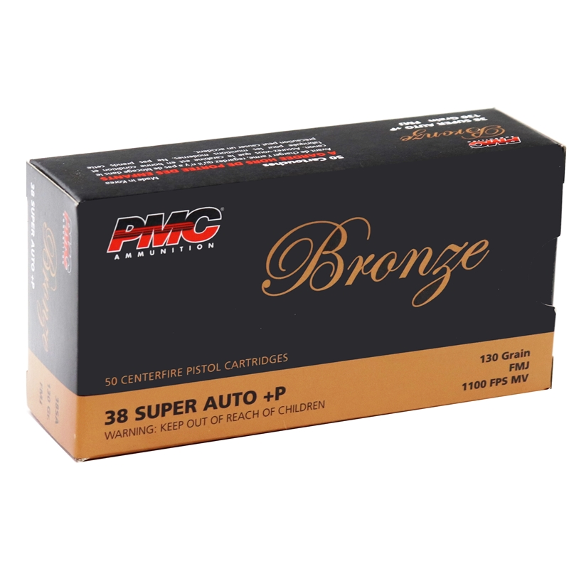 PMC Bronze 38 Super +P Ammo 130 Grain Full Metal Jacket