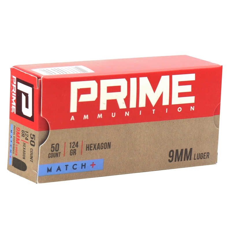 Prime Ammunition Hexagon 9 mm Luger Ammo 124 Grain Match+