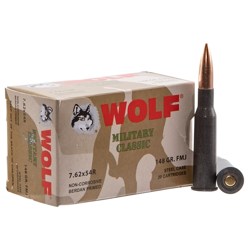 Wolf Military Classic 7.62x54R Ammo 148 Grain FMJ Steel Case