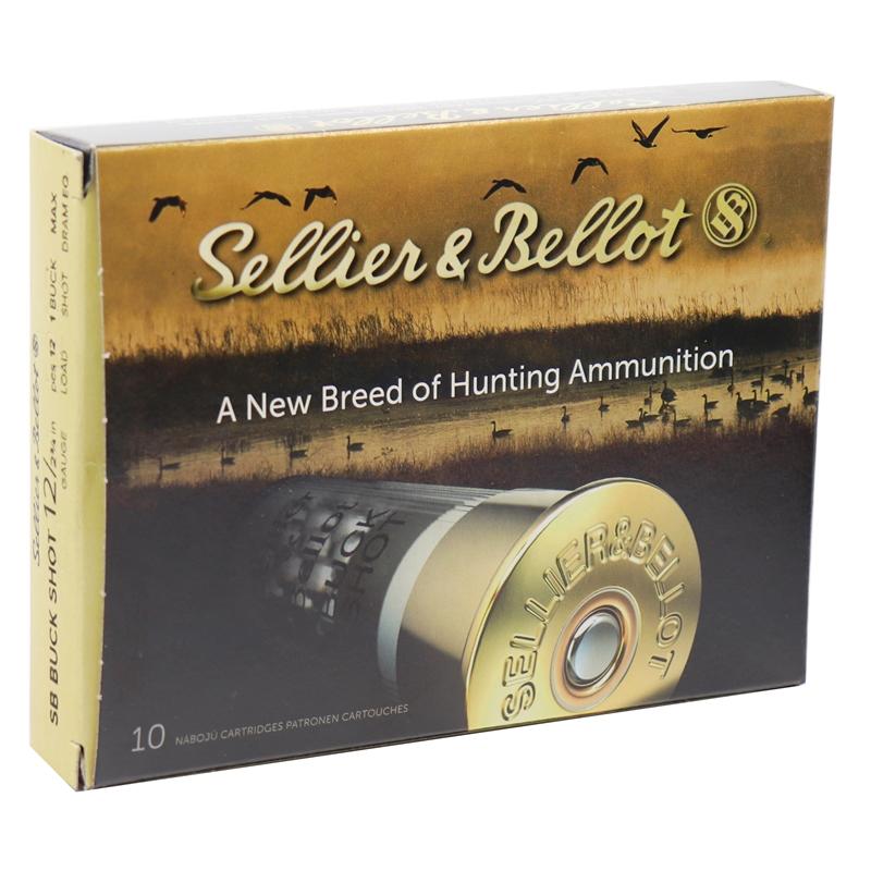 "Sellier & Bellot 12 Gauge 2-3/4"" Ammo #1 Buckshot 12 Pellets"